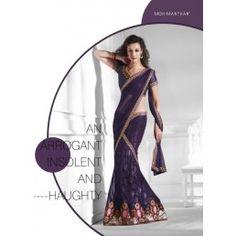 Violet color sari with thread, zari work