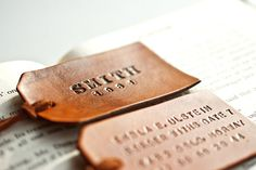 Custom leather luggage tags. LOVE this!