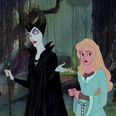 "Maleficent and Aurora - Disney's ""Sleeping Beauty� 1959 animated film + Disney's Maleficent 2014 live action film Disney Pixar, Disney Animation, Film Disney, Disney Villains, Disney Cartoons, Disney And Dreamworks, Disney Movies, Disney Characters, Disney Posters"