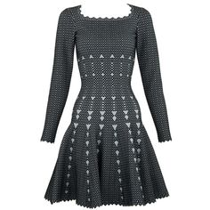 Alaia Black and Gray Knit Jacquard Fit and Flare Dress - Size FR 36 For Sale at Black Knit, Black And Grey, Gray, Fit Flare Dress, Fit And Flare, Power Dressing, Alaia, Jacquard Fabric, Day Dresses