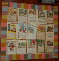 Vintage Calendar Tea Towel Quilt Quilts Quilts Towel
