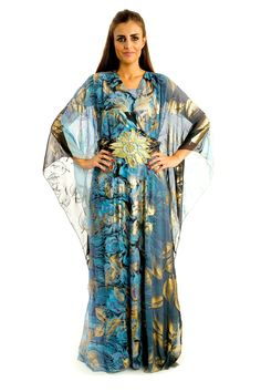 Golden Rose Night Sky $60.00 http://zafirahfashion.com/shop/4584099183/golden-rose-night-sky/8008775 Dark blue with golden print chiffon dress  Free size Hem hits the floor  Long sleeves V-shaped neckline  Traditional oriental style  Manufactured in UAE       Hand wash, dry clean