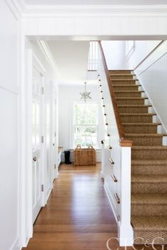 GALLERY Step Inside a Timeless Fairfield County Colonial - Connecticut Cottages & Gardens - January 2016 - Connecticut(Entry Step Stairways) White Stairs, Striped Carpet Stairs, Stair Carpet, Entry Stairs, Painted Stairs, Wooden Stairs, Interior Stairs, Floating Stairs, Traditional House