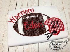 Football and Helmet applique embroidery design by BeauMitchellBoutique on Etsy https://www.etsy.com/listing/201854335/football-and-helmet-applique-embroidery