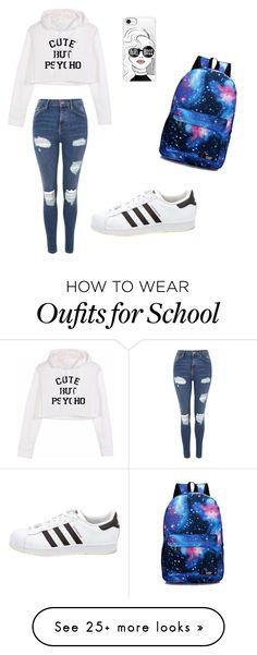 """School"" by ancianacukovic on Polyvore featuring Topshop, Casetify and adidas"