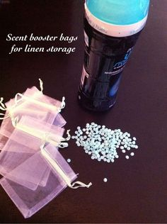 For Fragrant Linen Storage:.  Purchase small mesh bags from dollar store, put about a tablespoon of in-wash scent boosters (like Downy) and put the bags in the your linen closet!