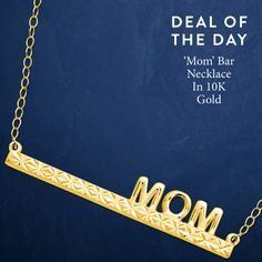 A 'Mom' Bar Necklace in 10K Gold for the casual chic mom, with effortless style! Only $49 plus free shipping.