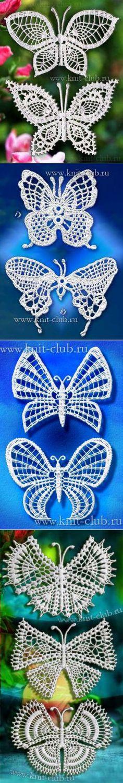 Ажурные бабочки.   Вязание   Постила