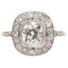Preowned Cushion Cut 1.16 Carat Diamond Platinum Engagement Ring (7,710 SGD) ❤ liked on Polyvore featuring jewelry, rings, multiple, platinum ring, diamond jewellery, diamond rings, pre owned rings and diamond engagement rings