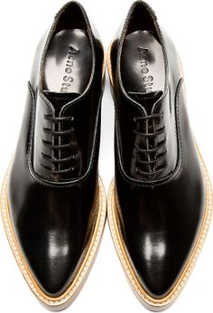 Black Leather Carla Oxfords