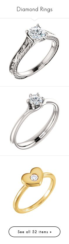 """Diamond Rings"" by applesofgoldjewelry ❤ liked on Polyvore featuring jewelry, rings, gold heart ring, yellow gold diamond rings, 14k yellow gold ring, solitaire ring, gold ring, baguette diamond ring, baguette engagement ring and baguette jewelry"