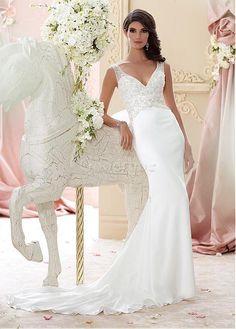Robe de mariée elégant & luxueux en chiffon fourreau traîne naturel - photo 1