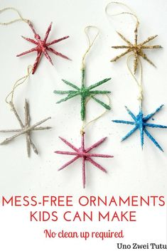 Do you want to make Christmas ornaments full of glitter with your kids but you are afraid of all the mess? These sparkling star ornaments are fun, easy to make and completely mess-free. These are a perfect Christmas craft for toddlers, preschoolers or old