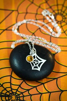 Spider Web Necklace - Web Charm - Sterling Silver Web - October Necklace - Orange Charm - Halloween Necklace - Halloween Charm -Spooky Charm
