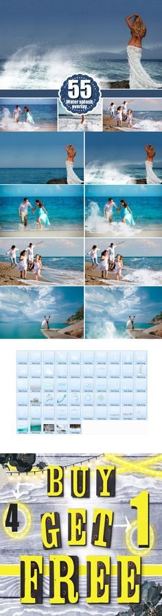 55 type of water photo Overlays, png. Photoshop Layer Styles. $15.00