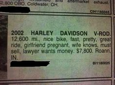Harley for sale in local paper…