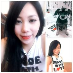 WE ARE MADE WITH LOVE!!!!!!! <3 <3 I love this shirt!!!! Btw...Red lip makeup day ;)    #love #forever21 #madewith love #shirt #ootd #makeup #redlip #cute #dog #schnauzer #jimjim #kahyinlam