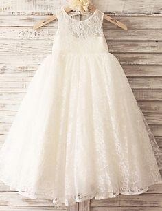 Princess Ivory Hole Back Floor-length Flower Girl Dress - Lace Sleeveless - USD $ 59.99