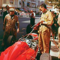 Check out this classic Ferrari 156 F1-63 fueling up at the Monaco Grand Prix race in 1963.