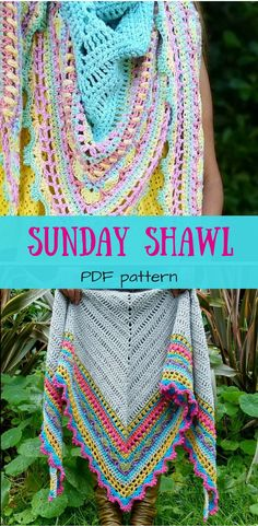 Easy to follow pattern for beautiful crochet shawl. Crochet Shawl Pattern ~ Instant Download ~ Sunday Shawl #etsy #ad #pattern #crochet