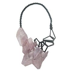 Hedda Bjerkeli - 2013 : 'Crystal cluster' My latest work is a necklace made of silver, hematite and slices of lepidolite (purple mica)