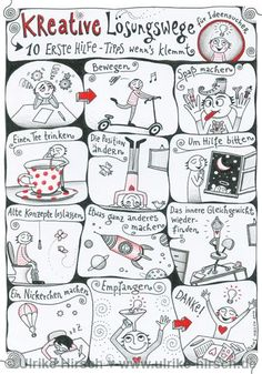 "Poster ""Kreative Lösungswege für Ideensucher"" ⋆ Ulrike Hirsch - New Ideas Visual Thinking, Design Thinking, A4 Poster, Grey Paint Colors, Gray Paint, Sketch Notes, Coaching, About Me Blog, Journaling"