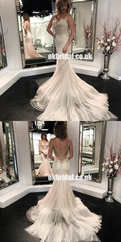 Charming Spaghetti Straps Tulle Backless Wedding Dresses, Sexy Backles – OkBridal