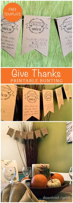 A quick and easy DIY for your family to do together before your Thanksgiving meal. Free Printable Wedding Invitations, Thanksgiving Meal, Give Thanks, Bunting, Diy Wedding, Free Printables, Easy Diy, Thankful, Place Card Holders