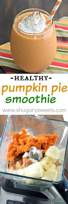 Whip up one of these delicious Pumpkin Pie Smoothies for breakfast today! The pe Whip up one of these delicious Pumpkin Pie Smoothies for breakfast today! The perfect healthy way to start your day (or recover after a workout)! Breakfast Smoothies, Healthy Smoothies, Healthy Drinks, Healthy Snacks, Healthy Recipes, Fruit Smoothies, Healthy Breakfasts, Blender Recipes, Yogurt Recipes