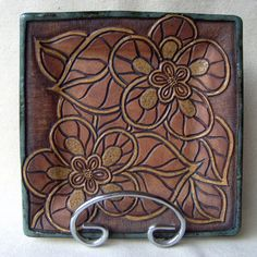 Half Price Sale!! Handmade and Carved Square Plate with flowers - Sage Green and Brown on Etsy, $17.50