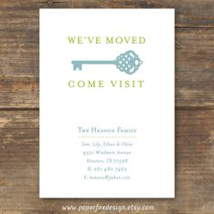Moving Announcement, New Home, New Address Card - DIY Printable - New Key