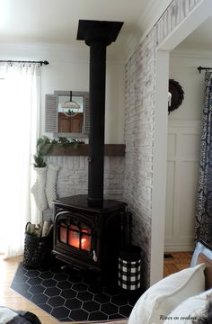 DIY Home Decor pin to attempt. Visit this decorating ref 2202013462 today. Wood Stove Decor, Wood Stove Wall, Wood Stove Surround, Wood Stove Hearth, Brick Wall, Wood Burning Stove Corner, Corner Stove, Home Fireplace, Fireplace Design