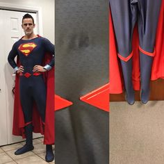 Well, I messed it up. Description: Up for grabs is a Rebirth style Superman costume. Bodysuit is by Brulafu Disguises. Selling as some super glue gel from the belt (on the back) bled through to the front (see pics, just above the belt buckle) as well as a glue mishap under the boot trim on the left boot. You cant see this mark due to the cape covering it, but it is there. Asking $130, comes with everything but the cape. Aquashoes have been sewn on, size 11. I'm 6ft and 170lbs. This suit is a…