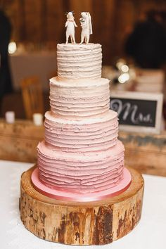 Ombre Buttercream Cake Log Slice Stand Outdoorsy Nature Pretty Pink Wedding…