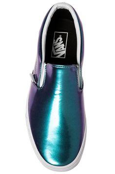 Vans Sneaker The Classic Slip-On in Blue Patent Leather Blue - Karmaloop.com