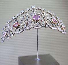 Bowknot Tiara c1900 by Joseph Chaumet | Gold, silver, pink topazes, diamonds.