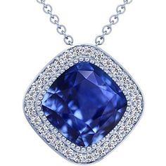 Platinum Cushion Cut Blue Sapphire And Round Diamond Pendant (GIA Certificate) GemsNY. $26310.00. Save 50%!