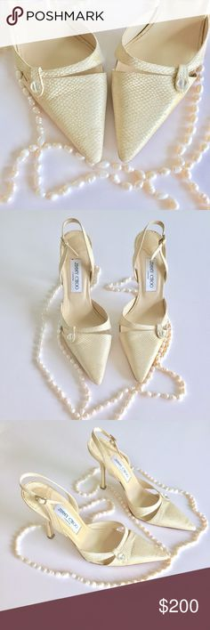 🔥PRICE DROP🔥Jimmy Choo Slingback Golden Heels Up for sale Preowned pair of Beautiful Jimmy Choo Shoes Sandals. Size 38 1/2 but like with most high end designers they feel a size smaller. Heels have little sparkles. They do show wear on the soles, there is a flaw with right front heel on the bottom (doesn't affect functionality of the shoe) I've included photos with references. (Last two photos show defects) If you have any questions please ask before buying. Check out my closet, bundle and…