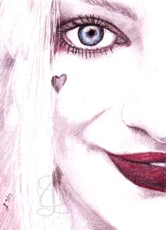 Margot Robbie as Harley Quinn. Freehand sketch using HB, coloured pencils and eraser. Comic Book Heroes, Comic Books, Coloured Pencils, Margot Robbie, Harley Quinn, Sketches, Comics, Color, Art