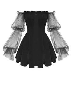 Gothic Off Shoulder Lantern Mesh Sleeve Mini Dress ROCK N DOLL Fashion doll Dress Gothic Lan Lantern mesh Mini rock Shoulder sleeve Mini Dress With Sleeves, Bell Sleeve Dress, Sleeved Dress, Bell Sleeves, Pretty Dresses, Beautiful Dresses, Mini Prom Dresses, Elegant Dresses, Sexy Dresses