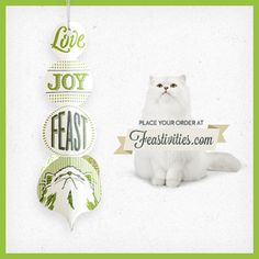 The 2013 Fancy Feast Ornament has arrived! Join the Feastivities and place your order while supplies last. When we can afford a surprise for Mr. Mango he gets FF & I love your PINS! Holiday Ornaments, Cat Art, Joy, Fancy, Pets, My Love, Giveaway, Animals, Design