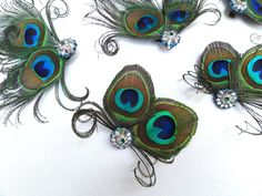 Peacock Fascinators, Feather, Set of 5, Weddings, Bridesmaid, Bridal Party, Blue, Green, Hair Accessory, Shoe Clips, Batcakes Couture. $139.95, via Etsy.