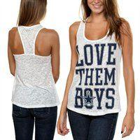 Dallas Cowboys Ladies Love Them Boys Burnout Tank Top