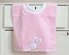 Easter Towel Bib Bunny Terry Cloth Bib Baby by TheSewingChickadee