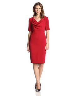 Women's Cowl Neck Elbow Sleeve Dress