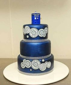 Beautiful Doctor Who TARDIS wedding cake topper The Doctor Is In