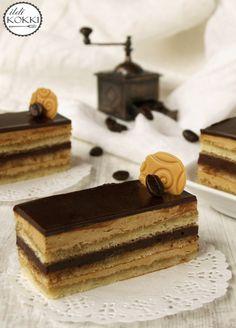 Opera cake My Recipes, Dessert Recipes, Opera Cake, Opi, Macarons, Sweets, Baking, Heavenly, Honey