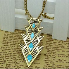 Hot Vintage Fashion Triangle Pendant Chain Choker Chunky Bib Statement Necklace #New #Pendant