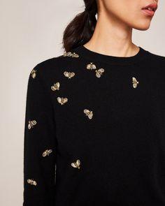 Embellished Bee jumper - Black | Knitwear | Ted Baker UK