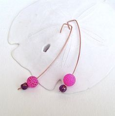 Modern copper earrings hot pink beaded earrings by BrandonArtists, $16.00